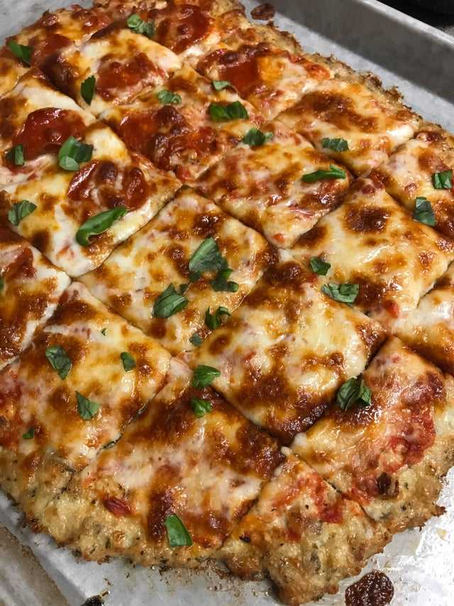 Chicken Crust Low Carb Pizza on a silver pan