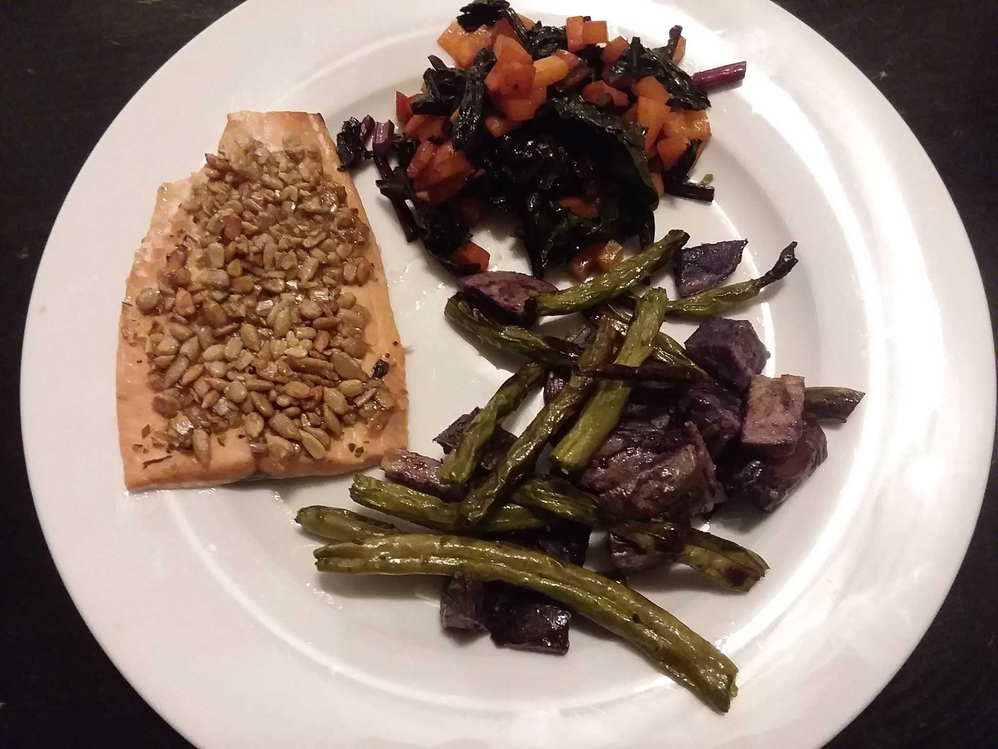 Baked Salmon with Roasted Purple Potatoes and Golden Beets Recipe