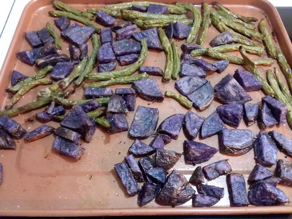 purple potatoes and green beans