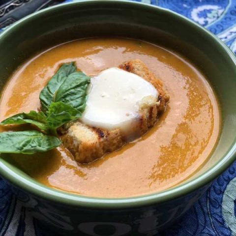 Roasted Heirloom Tomato Soup with Grilled Cheese Croutons