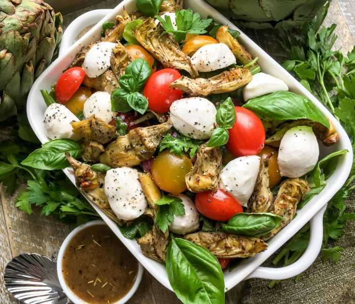 Thyroid Healthy Roasted Artichoke and Mozzarella Salad