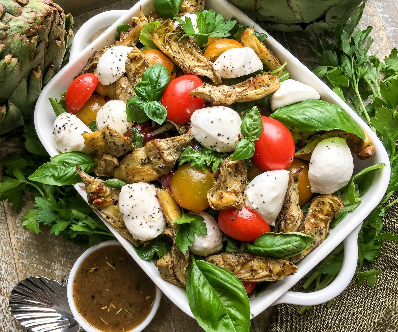 Thyroid Healthy Roasted Artichoke and Mozzarella Salad